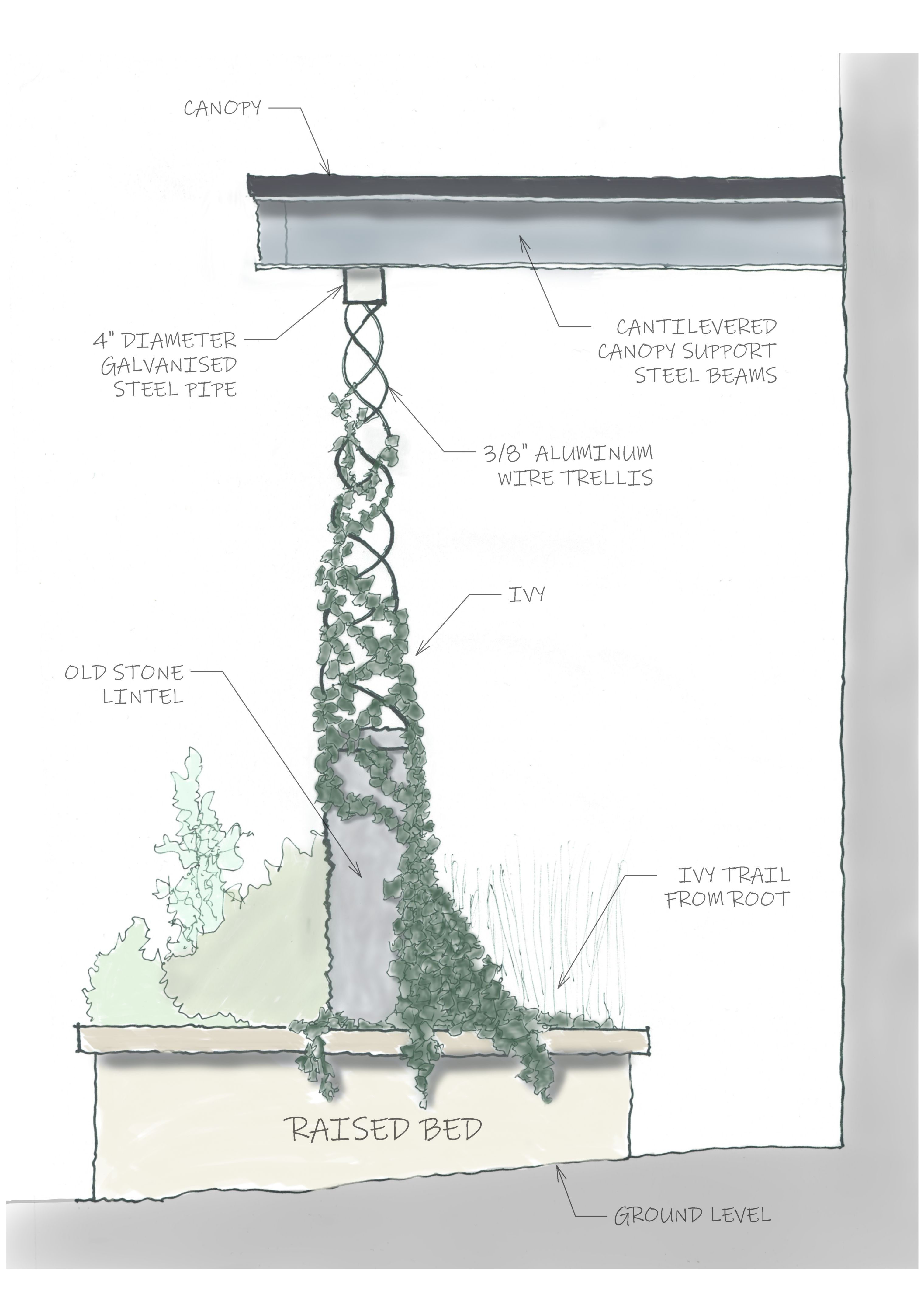 A side sketch of our in house designed living downspout
