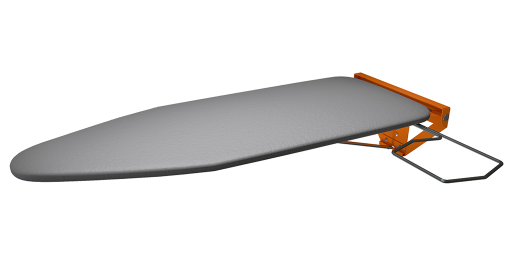 Orange Powder Coated Compact Wall Mounted Folding Ironing Board