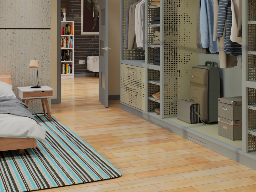Concept bedroom design with closet shelving